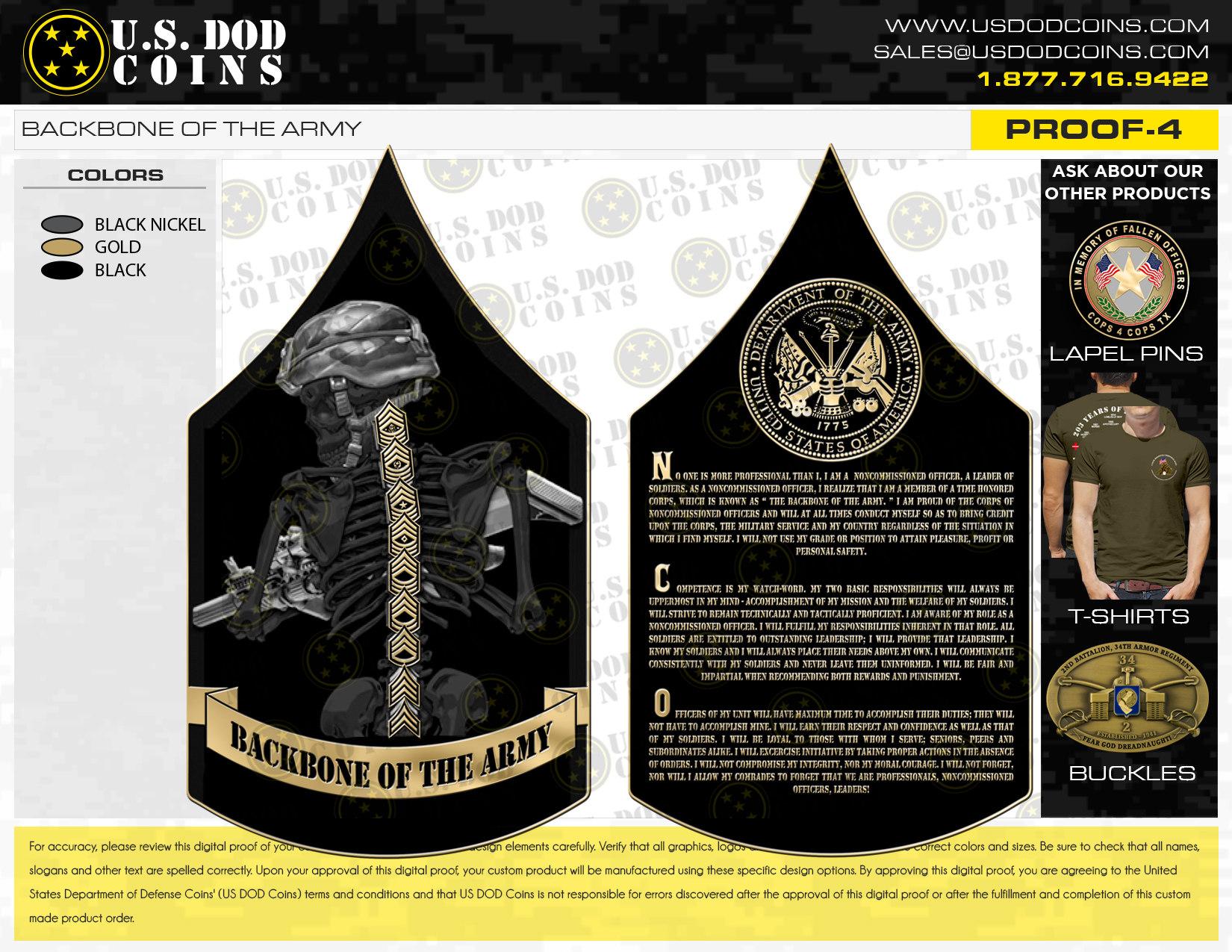 BACKBONE OF THE ARMY   U.S. DOD Coins
